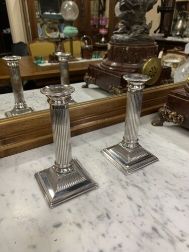 Pair of Edwardian Silver Plated Candlesticks.
