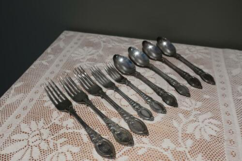 Antique Art Nouveau Silver Plated Cutlery Spares - Forks / Spoons - Lily Pattern