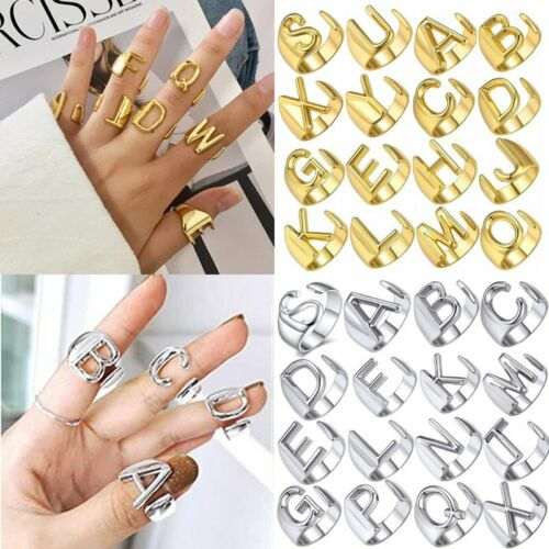 Personalized 18k Gold Bold Initial Letters Alphabet Open Ring Women Adjustable