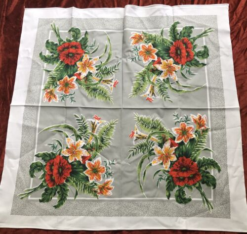1960s Hibiscus Tiger Lily Tropical Flowers Vintage Printed Tablecloth Unused NOS
