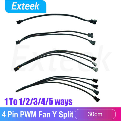 4 pin PWM Fan Cable 1 to 2/3/4 ways Splitter Sleeved Extension Extender Cable