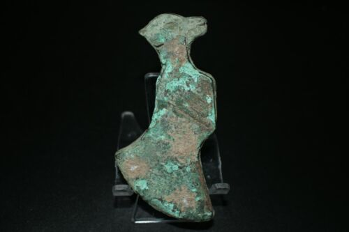 Authentic Ancient Early Bactrian Bronze Axe with an Figurine of Dog on Top