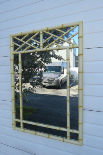 Hollywood Regency Faux Bamboo Distressed Painted Large Mirror 1498