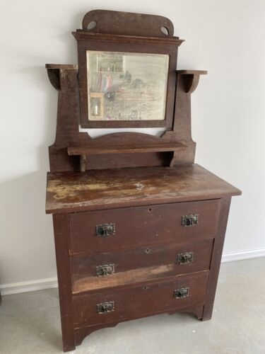 Solid silky oak Victorian dressing table with mirror and three drawers