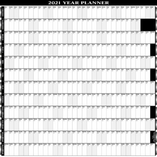 2021 -12 MONTH YEARLY WALL PLANNER - CALENDAR /PERS/BUS 9 COLOURS 5 SIZES