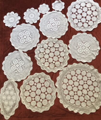 13 Vintage Crochet Lace Tablecloth Large Runners Doileys Ecru White Cream Topper