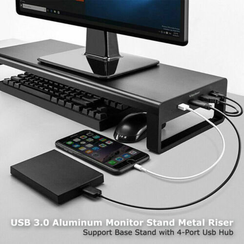 Computer Monitor Stand Metal Riser Base Stand with 4-Port USB HUB