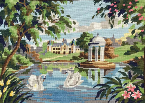 Vintage Tapestry Swans Manor House Pavilion Garden Lake Embroidery French