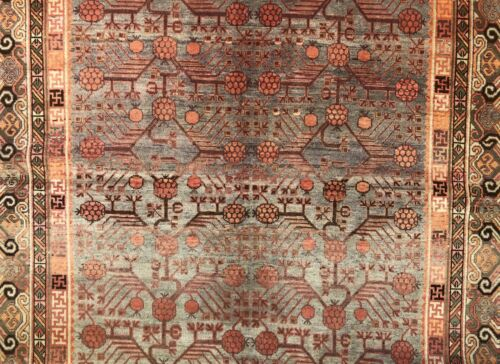 Special Samarkand - 1900s Antique Khotan Rug - East Turkestan Carpet 6.8 x 13 ft
