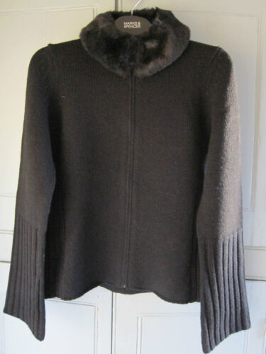 NEW M&S Black Wool Blend Cardigan Jacket With Removable Faux Fur Collar UK 8