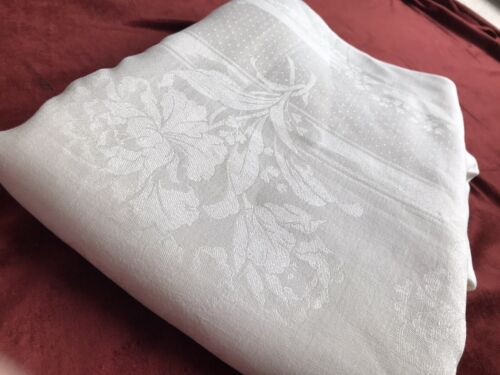 Vintage Peony Pure Damask Linen Tablecloth White Square Rectangular Banquet