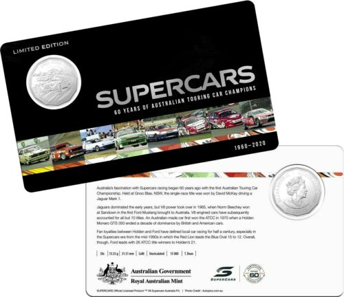2020  Australia 60 Years of Supercars - Coin 9 ONLY 50c on card.