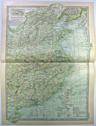 Original 1902 Map of China - Eastern Part - by The Century Company. Antique