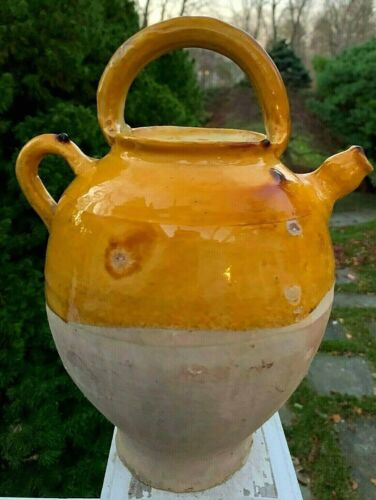 FRENCH COUNTRY CONFIT ANTIQUE POTTERY CRUCHE GARDEN REDWARE EARTHENWARE POT