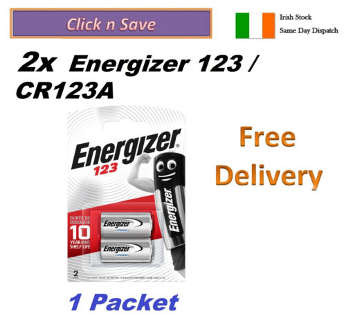 2x  CR123A battery Energizer 123, Lithium 3V, CR123 expiry 12-2030 1-Packet