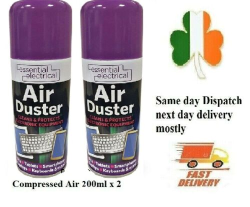 2 X Compressed air can duster cleaner Protects 200ml spray laptop mobiles tablet