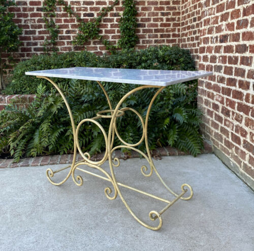 Antique French Country Baker's Table Pastry Table Polished Carrara Marble Top
