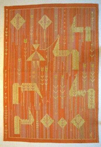 Swedish textile designer. Hand-woven RÖLLAKAN rug with horses and girl.