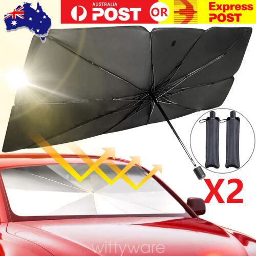 2X Car Windshield Sunshade Umbrella Front Window Cover Visor Sun Shade Large-AU