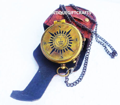 """Personalized Brass Compass """"Home is Wherever """", Camping Compass Engraved"""