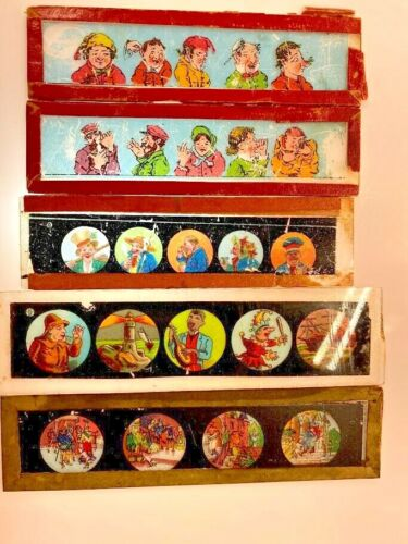 Antique Magic Lantern Glass projector slides <br/> several formats, variety of subjects
