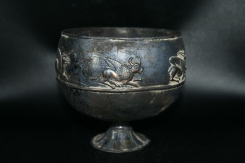 Authentic Ancient Greco Roman Silver and Gold Gilded Cup Weighing 363.6 Grams