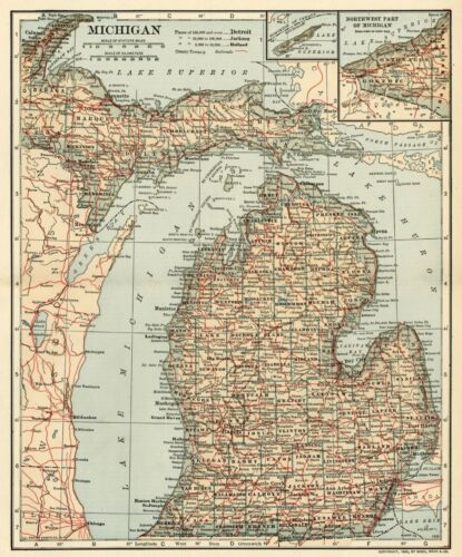 MICHIGAN Map: Authentic 1906 (dated) with Counties, Towns, Topography, Railroads