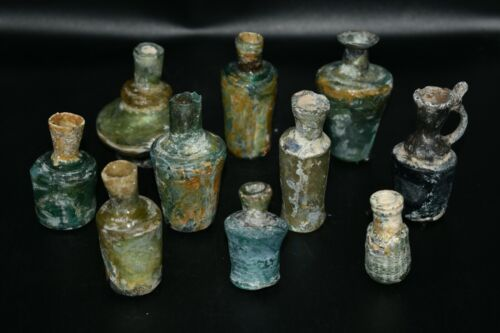 Lot Sell 10 Authentic Ancient Roman Glass Bottles & Vessels With Lovely Patina