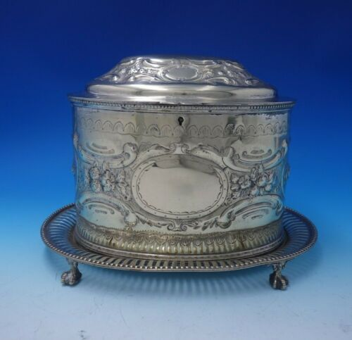 English Silverplate Biscuit Box Bead Border Claw Legs Floral Motif w/Lock #3131