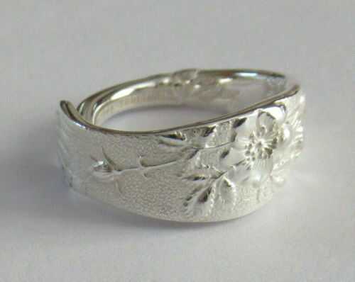 Sterling Silver Spoon Ring - 1872 Tiffany / Wild Rose - size 8 (7 to 8)