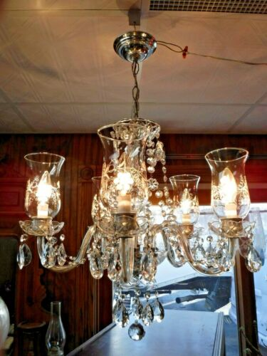 """Vintage Mid Century Crystal Chandelier  """"FREE"""" Shipping"""