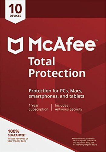McAfee Total Protection 2020 10 Users/PC Internet Security Windows 10 & Mac NEW