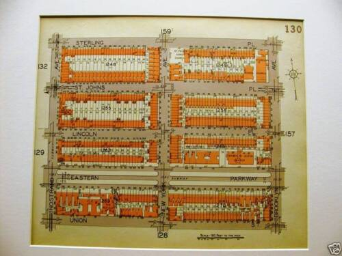 Brooklyn Map 1929 STERLING NOSTRAND UNION ST. LINCOLN Matted
