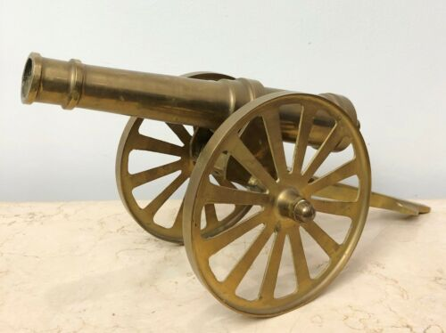 Vintage SOLID Brass Military Cannon #1938