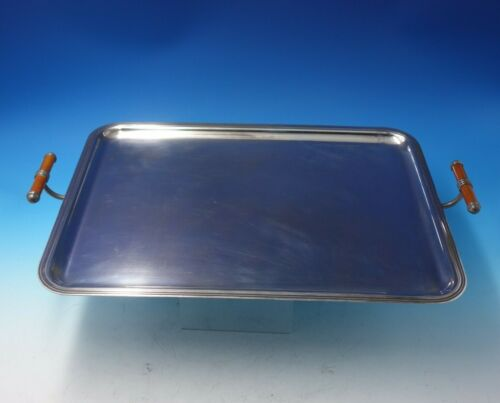 Albi by Christofle Silverplate Serving Tray with Enameled Brown Handles (#5016)