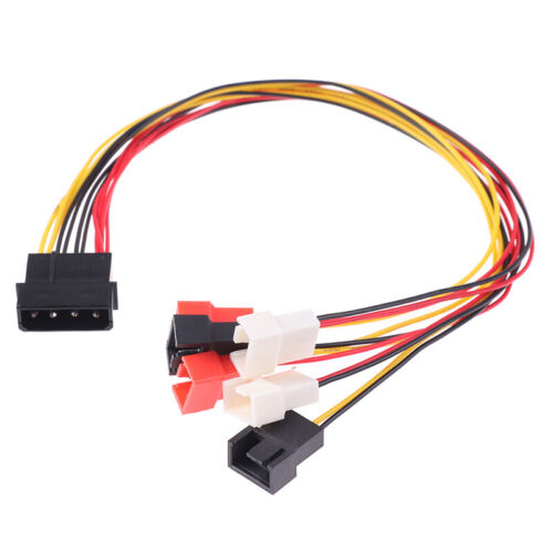 4Pin Molex to 3Pin Fan Power Cable Adapter Connector 12V 7V 5V Cooling Fan Ca FT