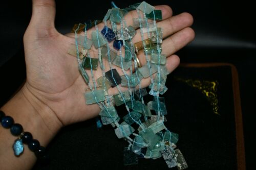 5 Strands of Authentic Ancient Roman Glass Fragments Beads from Afghanistan