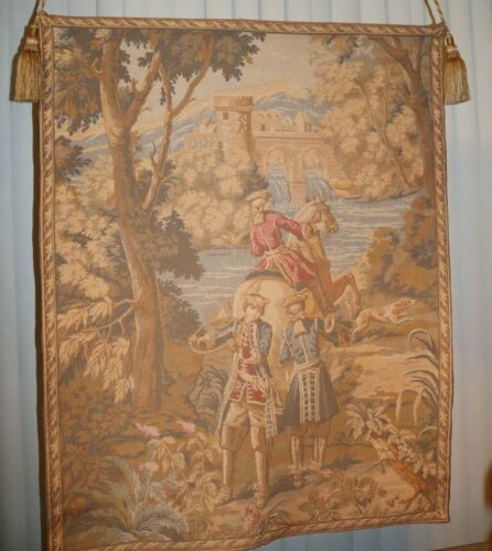 """Large (Thick) Colonial Tapestry Hanging Tasseled Weighted 38""""x48"""""""