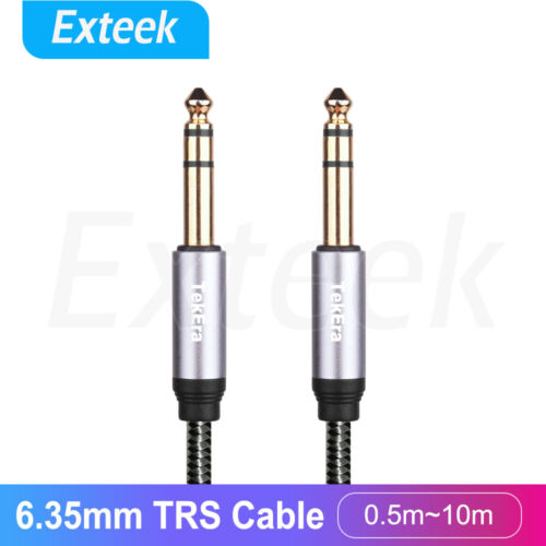 """1/4"""" TRS 6.35mm  Stereo Cable male to male Balanced Audio Patch Lead Gold Plated"""