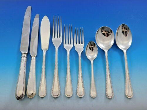Bead Round by Carrs Sterling Silver Flatware Set Dinner Service 87 pcs England