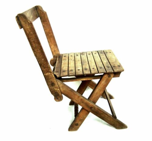 Vintage antique wooden small chair Carved folding stool VERY RARE !!!