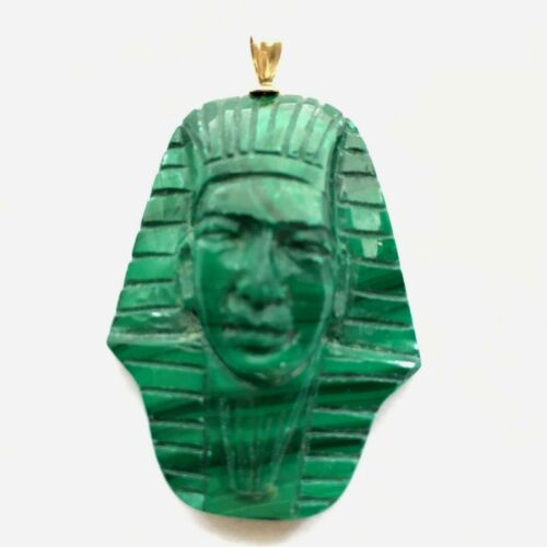 Vintage Carved  Malachite Bust Fine Detail Minimal Scuffs or Scratches