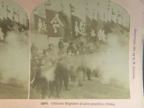 1902 CHINA IMPERIAL QING REGULAR SOLDIERS AT GUN PRACTICE STEREOVIEW 清西洋枪队练习开枪