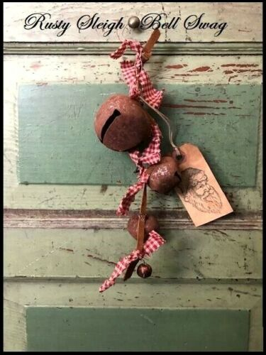 Primitive Vintage Rusty Sleigh Bells Country XMAS SWAG Hanger Red Homespun Ties