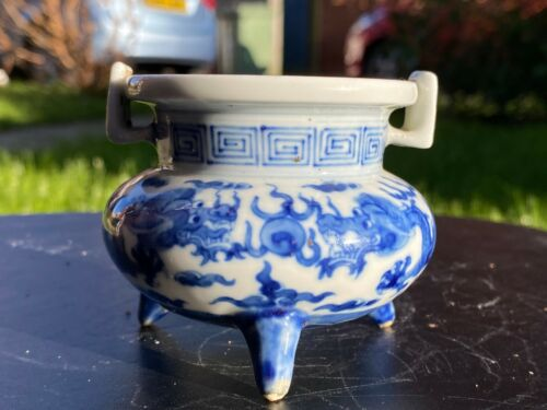 Chinese Porcelain Dragon Painted Censer with Signature