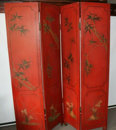 Antique Japanese screen finally carved inlayed and hand painted