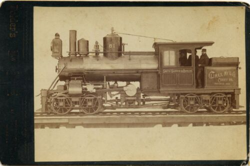 NEW TRAIN ENGINE LOCOMOTIVE CLIMAX MANUFACTURING CORRY, PA VIGNETTE CABINET CARD