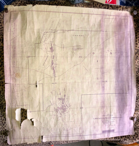 Nevada County CA Lava Cap Gold Mining Co. Mine Map w/ Drawn Flow Sheet - Large!