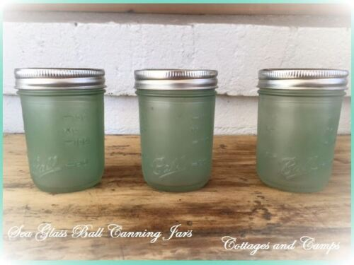 Lot of 3 Aqua Sea Glass Blue Green Ball Embossed Fruit Canning Jars & Metal Lids