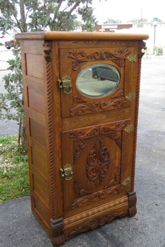 Late 1800s Heavy Carved Oak Ice Box 1893
